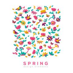 Spring cute paper cut background