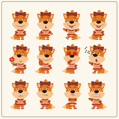 Collection emoticons of isolated girls fox in cartoon style. Set of charming little fox girl in various poses.