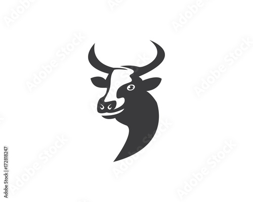 cow head silhouette logo design icon template stock image and