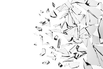 Broken glass on white background , texture decoration backdrop object design