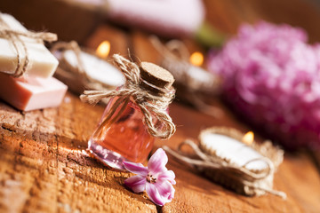 Spa background in range of pink and brown.