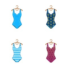 Different kinds of swimsuits. Swimsuits set collection icons in cartoon style vector symbol stock illustration web.