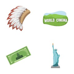 Mohavk, world cinema, dollar, a statue of liberty.USA country set collection icons in cartoon style vector symbol stock illustration web.
