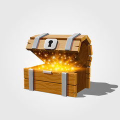 Open chest with gold, on the white background. Vector illustration