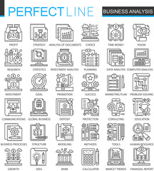 Business analytics outline mini concept symbols. Business strategy modern stroke linear style illustrations set. Perfect thin line icons.