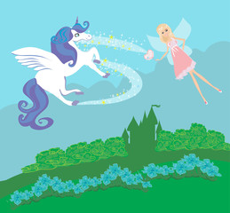 Castle, Unicorn and fairy