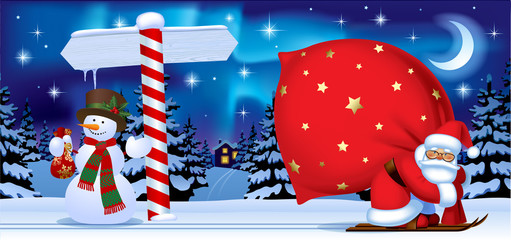 Santa Claus and Snowman with a New Year sign in the the night winter forest