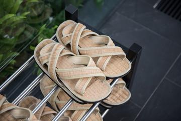 Japanese slippers or Sandals in front of house room entrance