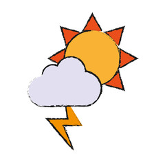 sun with cloud and thunder icon over white background vector illustration