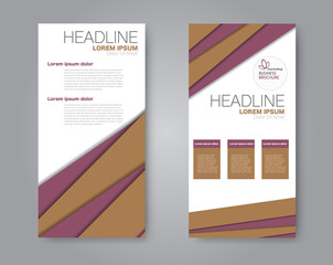 Vector flyer and leaflet design. Set of two side brochure templates. Vertical banners. Brown and red color. Vector illustration.