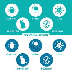 Set icons allergen. Group allergens in colored circles on dark and white background. Allergen - animal, dust mite, pollen, virus, bacterium.