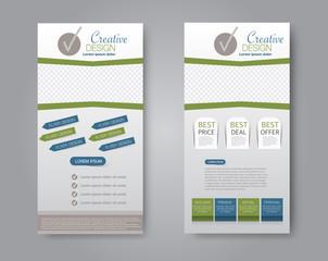 Skinny flyer or leaflet design. Set of two side brochure template or banner.  Vector illustration. Blue and green color.
