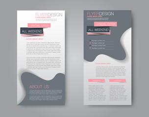 Skinny flyer or leaflet design. Set of two side brochure template or banner.  Vector illustration. Grey and pink color.