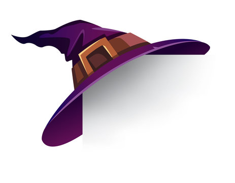 Witch Hat. Holiday card with witch hat on corner.