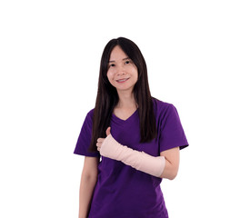 Asian lady in purple T shirt  with broken arm