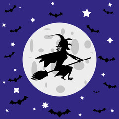 witch and bats against the full moon
