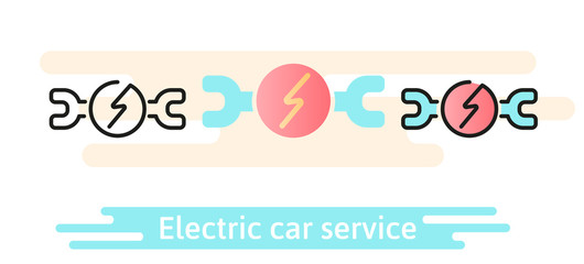 Service and repair of an electric car icon. Linear, flat and material design concept.