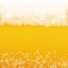 Oktoberfest background with light beer. Cool white foam with bubbles and spray. Fresh cup of beer for brewery design. Realistic oktoberfest background for festival design and invitation.
