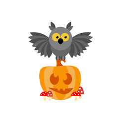 Cartoon owl sitting on a smiling pumpkin in the toadstools. Isolated vector illustration. Halloween.