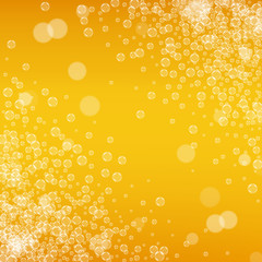 Beer background with realistic bubbles. Cool liquid drink for pub and bar menu design, banners and flyers. Yellow square beer background with white frothy foam. Cold pint of golden lager or ale.
