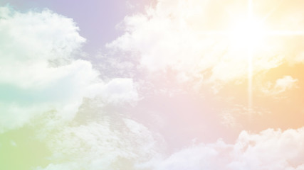 Sun and cloud with pastel or mulit color for background or wall paper.