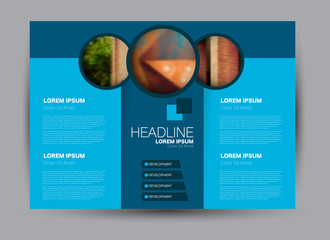 Flyer, brochure, billboard template design landscape orientation for education, presentation, website. Blue color. Editable vector illustration.