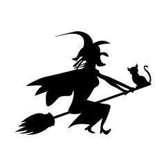 witch and cat are flying on a broomstick