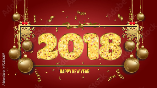 vector illustration of happy new year 2018 wallpaper gold balls