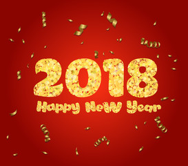 Happy new year. Gold glitter 2018. Golden text  and confetti isolated on red background