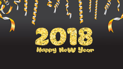 Happy new year. Gold glitter 2018. Golden text  and confetti isolated on black background
