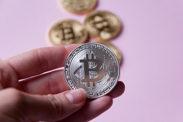 The hand holds a silver coin bitcoin on a pinkbackground. In the background there are several gold coins bitcoin. Concept of crypto currencies.
