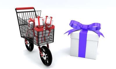 Speed shopping gift boxes concept, 3d