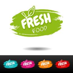 Wall Mural - Set of Fresh food badges. Vector hand drawn labels.