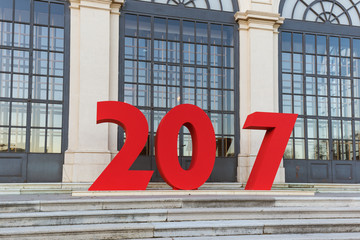 New year sign for photography in Palace Belvedere in Vienna Austria