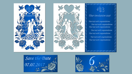 Vector illustration Postcard. Invitation and greeting card with the groom and the bride under. Arch of flowers. Pattern for the laser cut, boy and girl. roses, pigeons, heart. blue, white