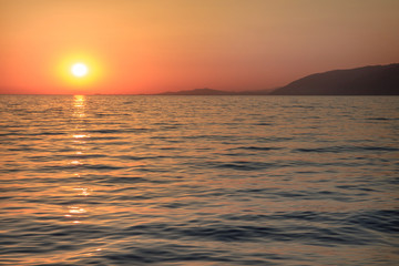 sunset in the black sea town of Gagra