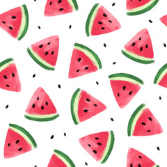 Seamless pattern with watermelons. Watermelon slices isolated on white background. Illustration painting