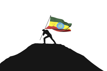 Ethiopia flag being pushed into mountain top by a male silhouette. 3D Rendering