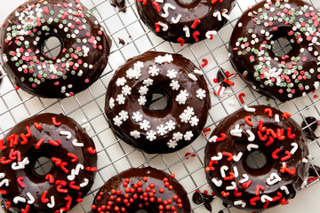 Christmas theme chocolate donuts