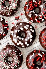 Christmas theme chocolate donuts