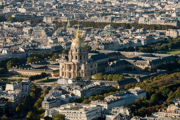 Aerial view on the Dome des Invalides, Paris, France