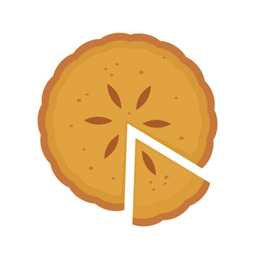 Homemade sliced pie with fruit filling. Vector flat cartoon illustration icon.Isolated on white background