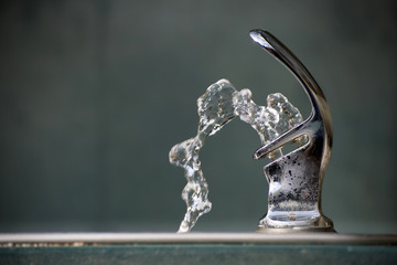 Drinking Water Flowing from a Fountain