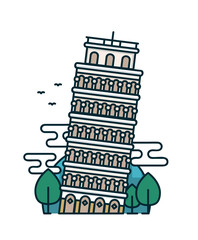 Leaning tower of Pisa, trees. Vector