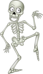 Cartoon funny human skeleton dancing