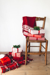 Red theme Christmas corner with gifts