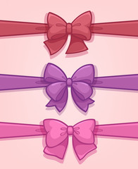 Set of colored gift bows with ribbons