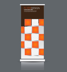 Rollup vertical banner stand template. Abstract background concept for business, education, presentation, advertisement. Editable vector illustration. Orange and brown color.