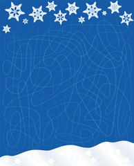 Snowfall labyrinth - find the way of the falling snowflakes through the blue winter sky to the pile of snow - a funny concentration game for children.