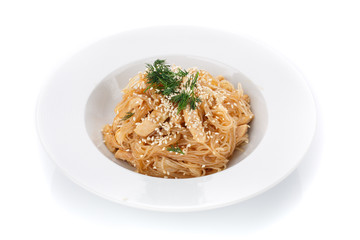 Traditional Italian cuisine. Pasta with sesame seeds